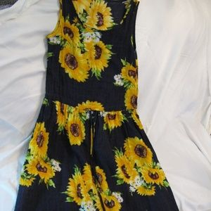 Jane Sunflower Linen Dress With Pockets